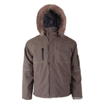 Khaki 100% polyester Winter Jacket